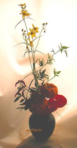 ウインターコスモスとかぼちゃのアレンジ