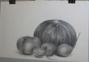 南瓜と柿とあけび
