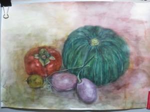 かぼちゃと柿とアケビ