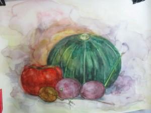 南瓜とアケビと柿