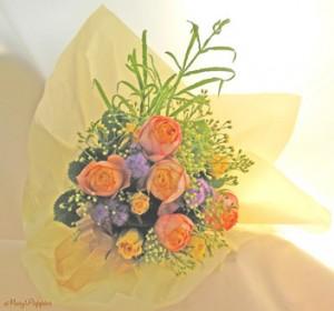 オレンジのバラの花束